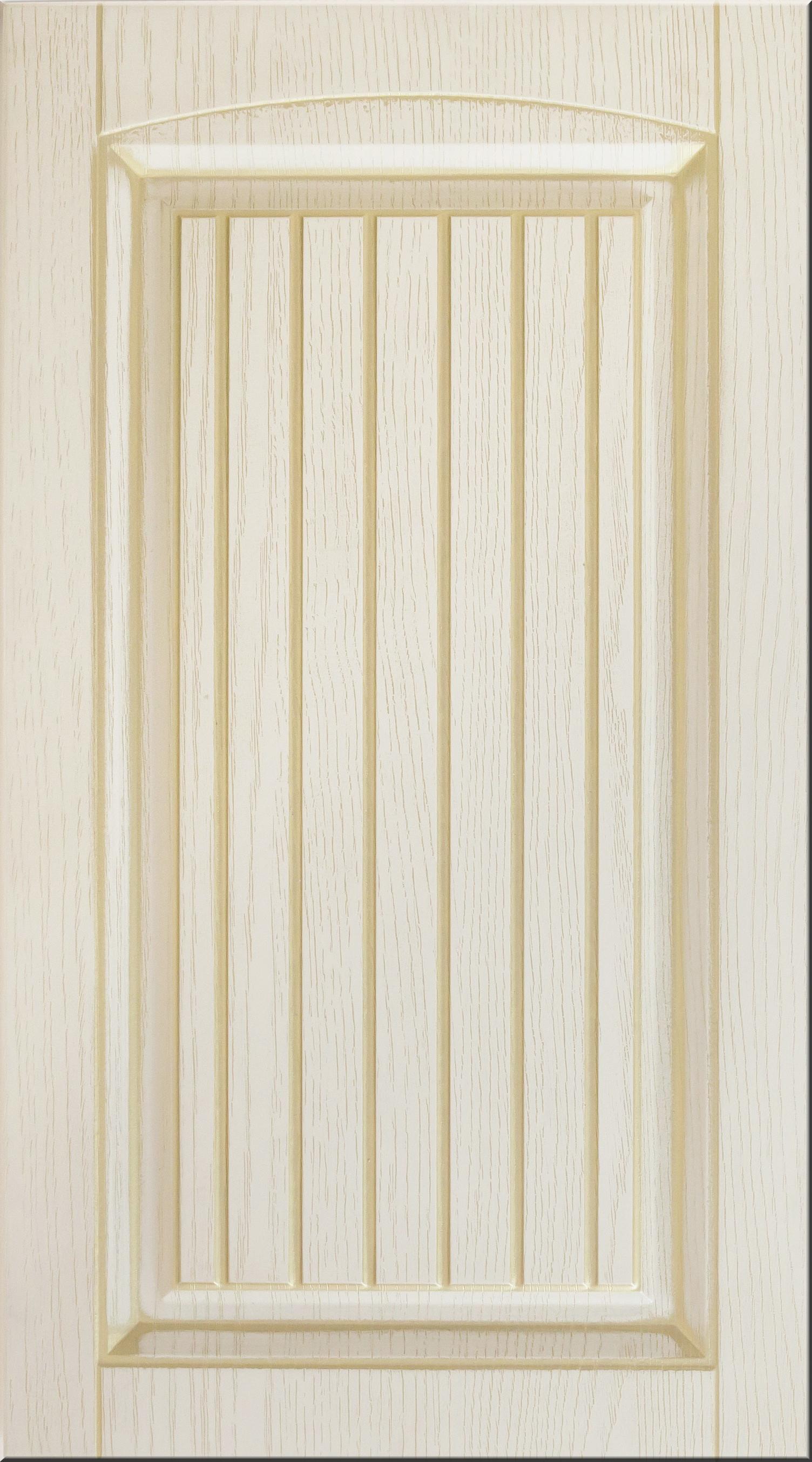 Фасады в пленке ПВХ, Фрезеровка № 43, цвет Ваниль структурная, патина - золото