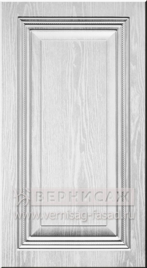 Фасады в пленке ПВХ, Фрезеровка № 75, цвет Белое дерево, патина - серебро