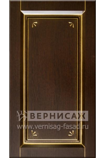 Фасады в пленке ПВХ, Фрезеровка № 75, цвет Орех премиум, патина - золото