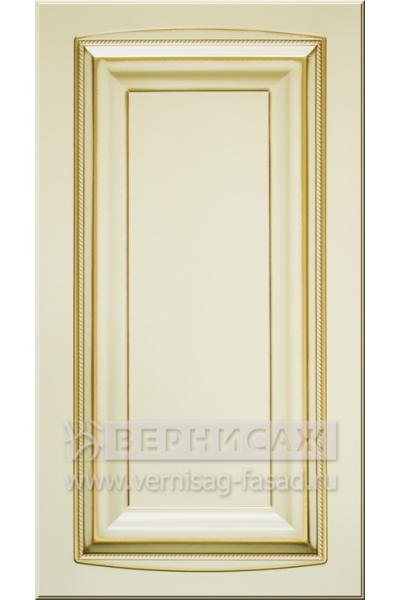 Фасады в пленке ПВХ, Фрезеровка № 55, цвет Ваниль, патина - золото