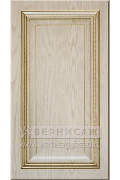 Фасады в пленке ПВХ, Фрезеровка № 56, цвет Ясень бежевый, патина - золото