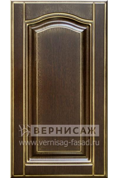 Фасады в пленке ПВХ, Фрезеровка № 61, цвет Орех премиум, патина - золото