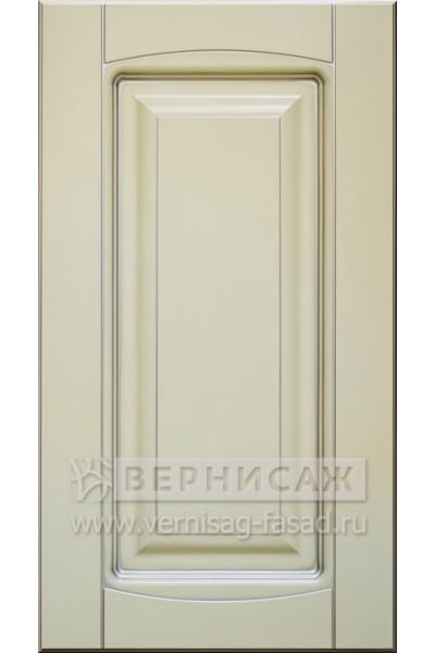 Фасады в пленке ПВХ, Фрезеровка № 75, цвет Ваниль, патина - серебро